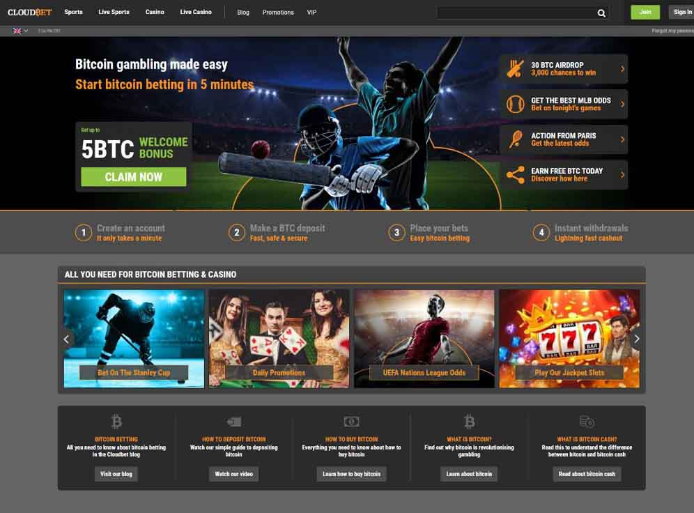 Cloudbet Casino Screenshot