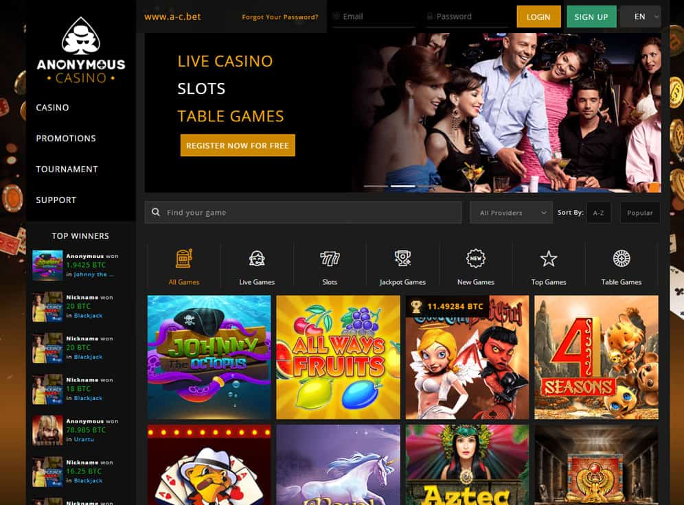 Anonymous Casino Screenshot