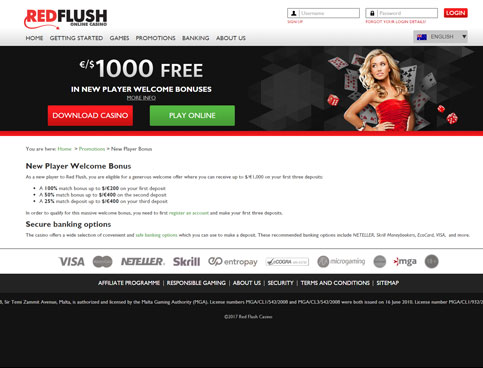 Red Flush Casino Online Review With Promotions & Bonuses