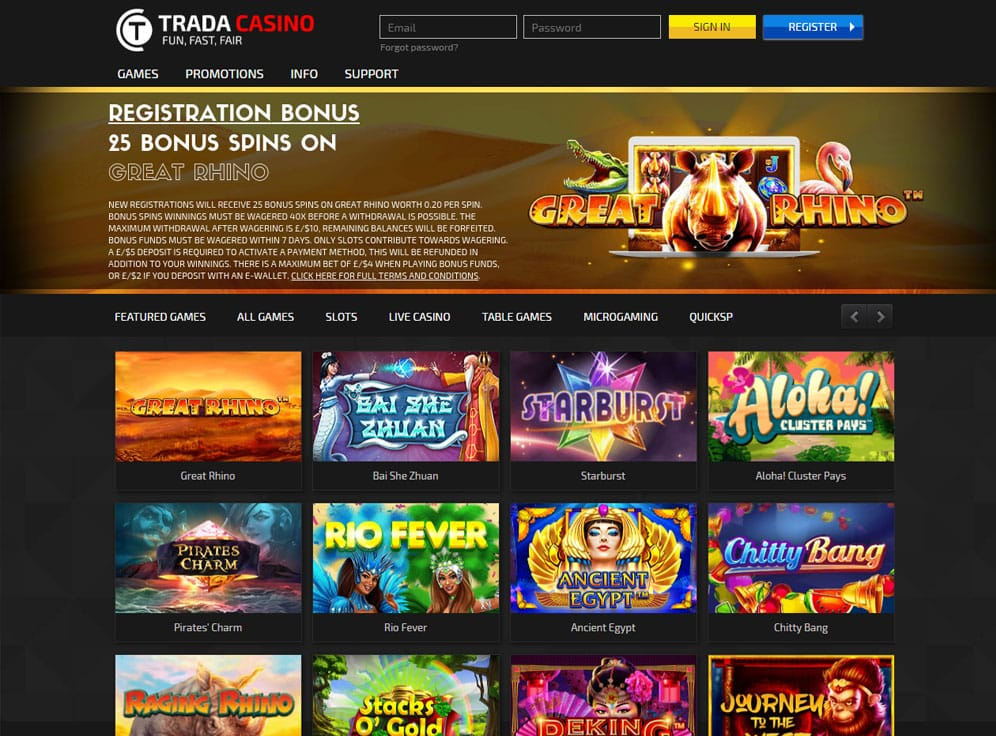 Trada Casino Screenshot
