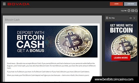 Bovada offers Bitcoin Cash Deposit Bonus