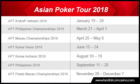 Schedule for Asian Poker Tour 2018