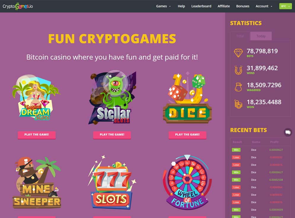 CryptoGames Casino Screenshot