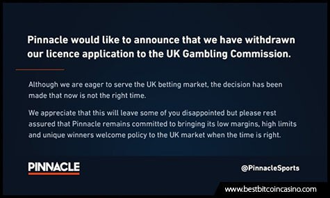 Pinnacle Withdraws Its UKGC License Application
