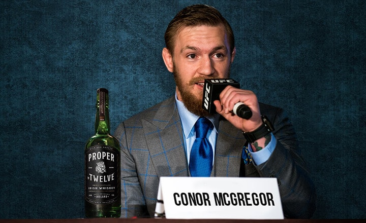 Two Belts – and a Bottle? McGregor Brings Own Whiskey Line to UFC 229 PressCon