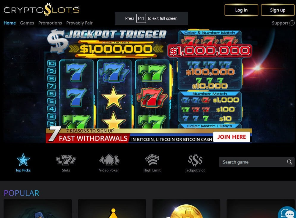 CryptoSlots Casino Screenshot
