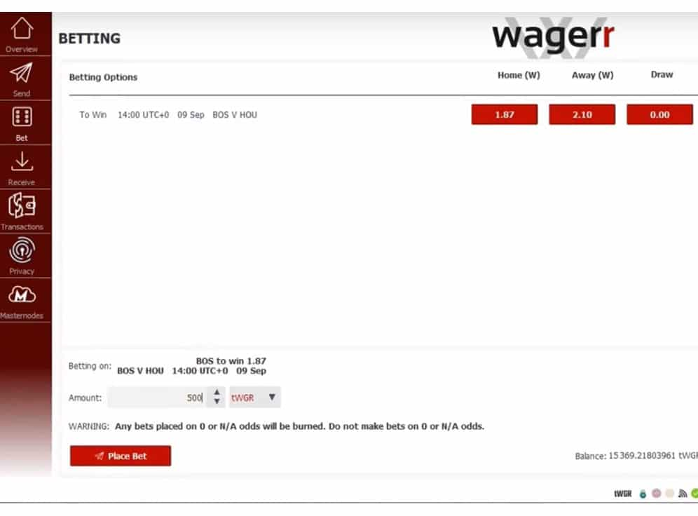 Wagerr Screenshot
