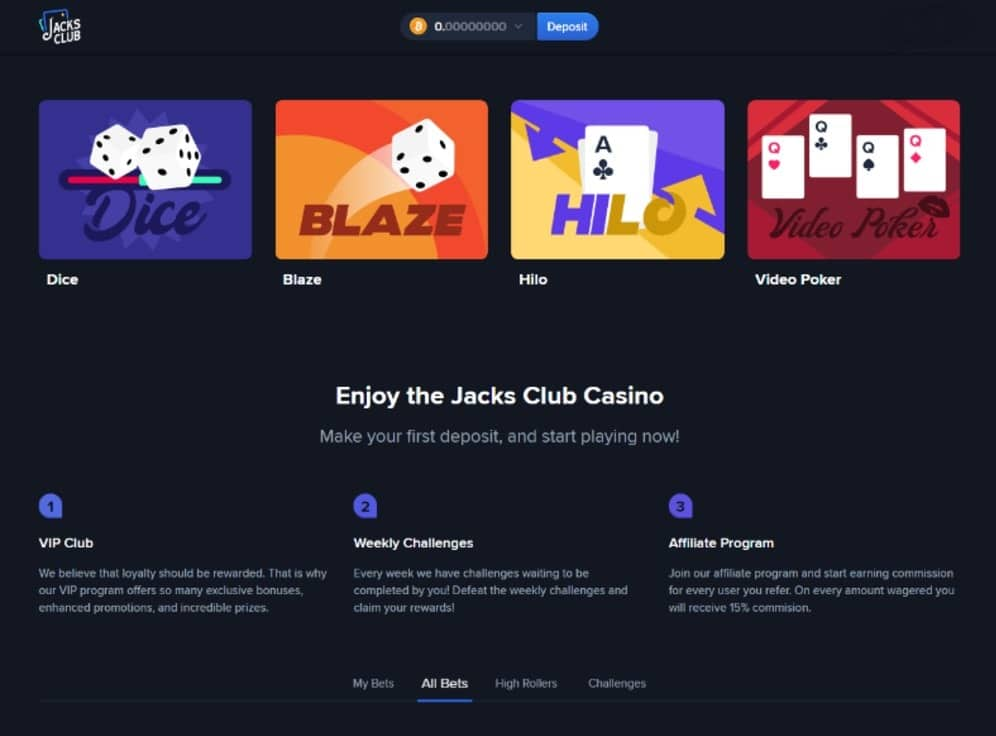 Jacks Club Casino Screenshot