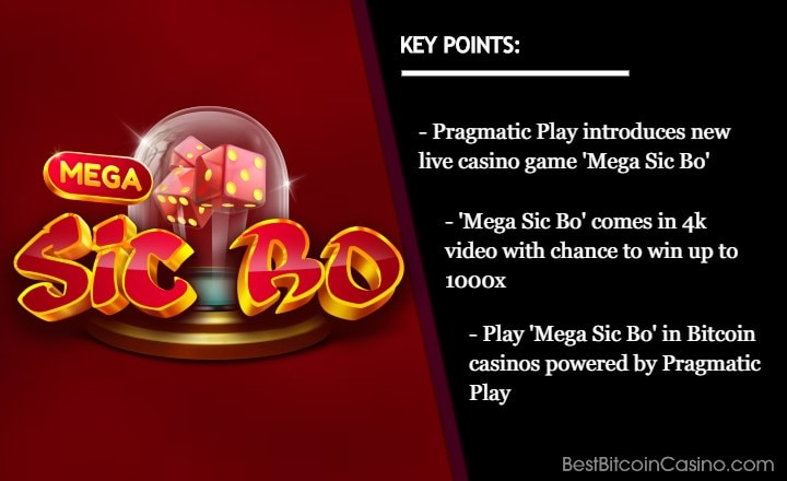 Pragmatic Play Takes New Live Casino Game 'Mega Sic Bo' to Bitcoin Casinos