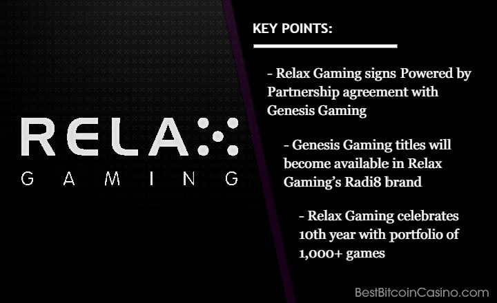 Relax Gaming Joins Forces With Genesis Gaming This Summer