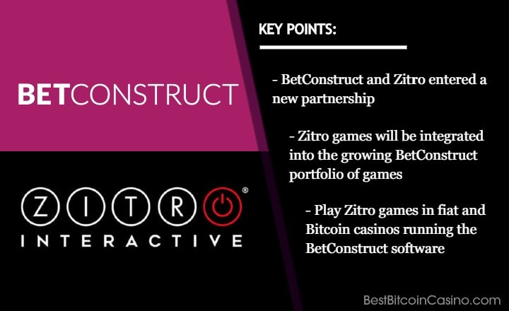 BetConstruct Brings Zitro Games to Bitcoin Casinos