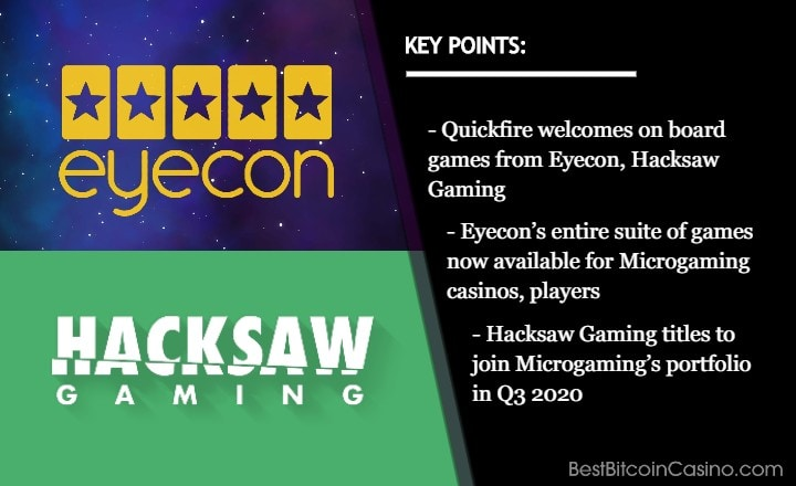 Eyecon, Hacksaw Gaming Join Quickfire Platform