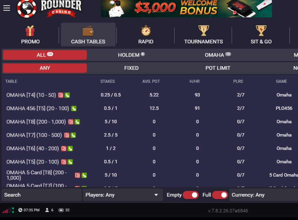 Rounder Casino Screenshot