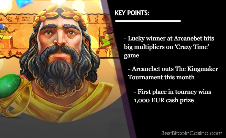 Lucky Player Wins €130K on Crazy Time at Arcanebet