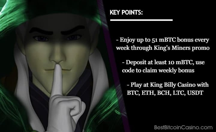 Get 51 mBTC Weekly Bonus at King Billy Casino