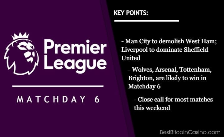 Premier League 2020/2021: Matchday 6 Odds at Bitcoin Sportsbooks