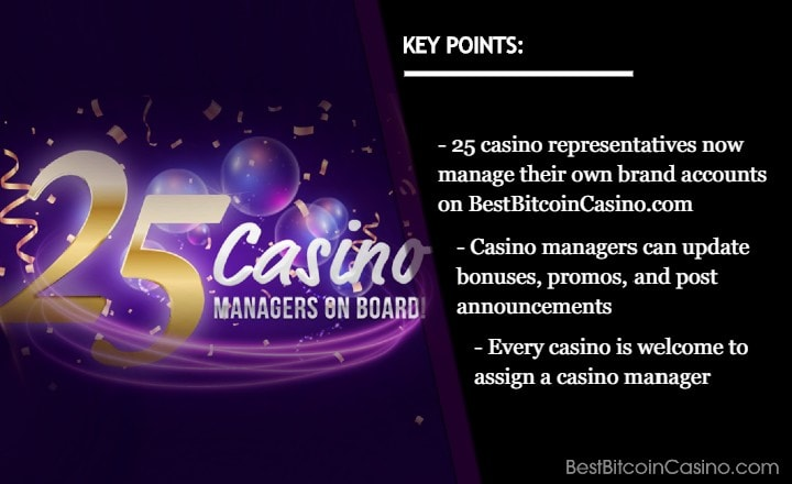 25 Casino Representatives Now Manage Own Accounts at BestBitcoinCasino.com
