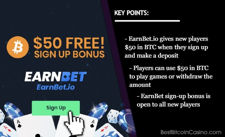 Get Free $50 in BTC When You Join and Play at EarnBet