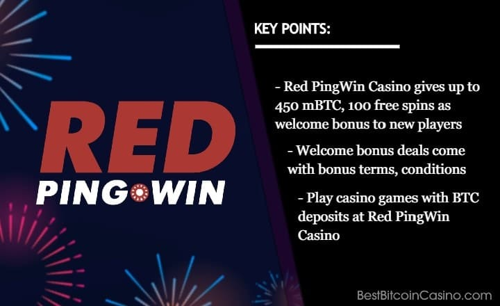 Red PingWin Casino Welcomes New Players With 450 mBTC, 100 Free Spins