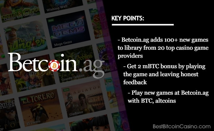 Betcoin.ag Levels Up With 100+ New Games From Top Providers
