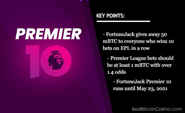 Win 50 mBTC When You Win 10 Bets in a Row on EPL at FortuneJack
