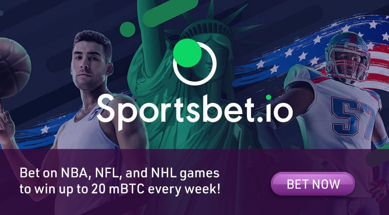 Win 20 mBTC or free bets every week at Sportsbet.io!